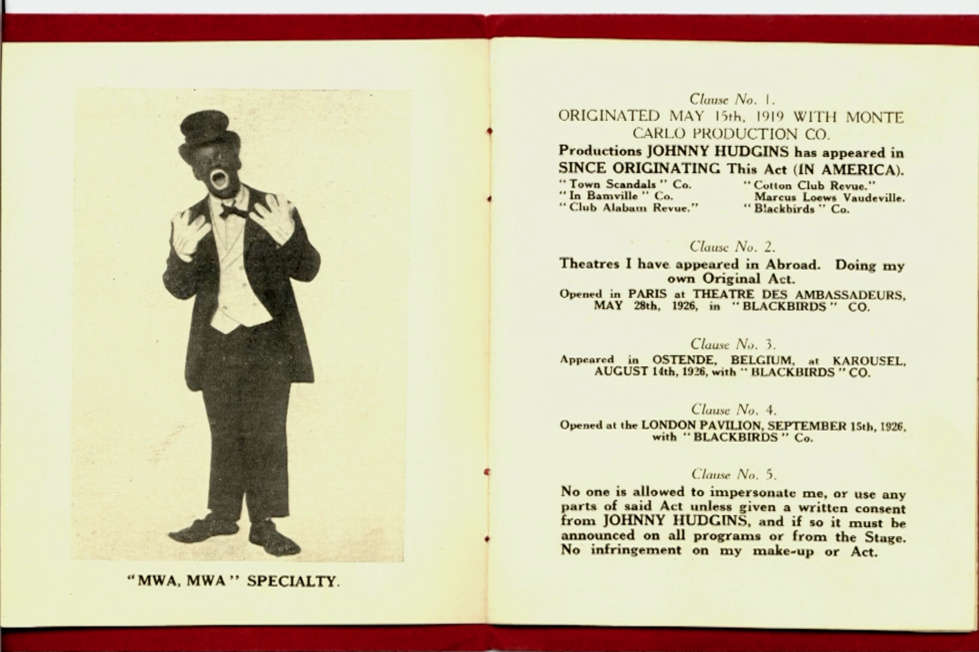 "Une page extraite du ""Book giving full description of Johnny Hudgins Own Original Dancing and Pantomime Act"", ""Entitled SILENCE""."