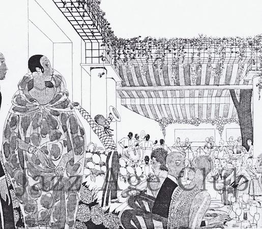 """Un dessin du spectacle des """"Blackbirds"""" au Café des Ambassadeurs en 1926."""